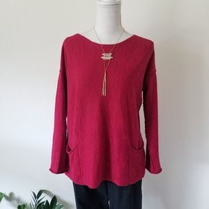 Eileen Fisher Organic Linen Patch-Pocket Sweater